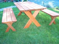 Redwood Picnic Table Set - Wide Plank style