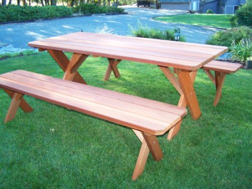 Traditional Redwood Picnic Table Set with 2 Detached Benches - wide plank style