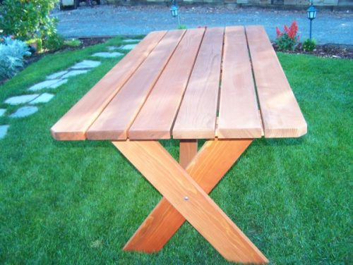 Wide plank Redwood Picnic Table - side view