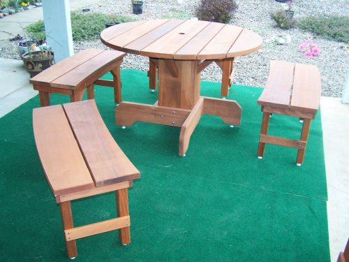 44 inch Round Old Growth Redwood Table with matching benches