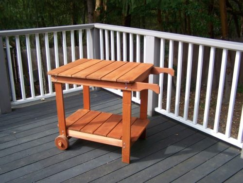 Redwood Tea / BBQ Cart with wheels - redwood furniture