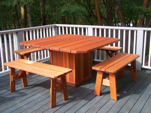 Square top Redwood Dining Table Wind Resistant Table with 4 Benches