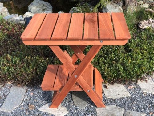 Folding Redwood Table - Barbecue Buddy