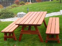 American Tradition Redwood Picnic Table & Bench Set