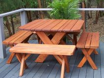 Square Cross Leg Old Growth Redwood Table Set with 4 detached Benches