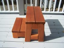 Folding Redwood Bench with Step -redwod furniture