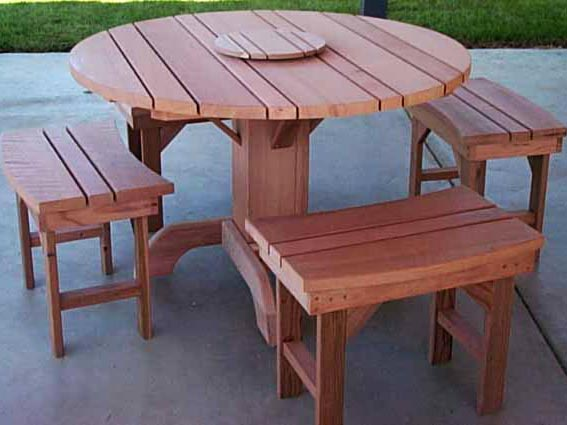Superior Round Old Growth Redwood Dining Table Set With Pedestal Base And Matching  Detached Benches