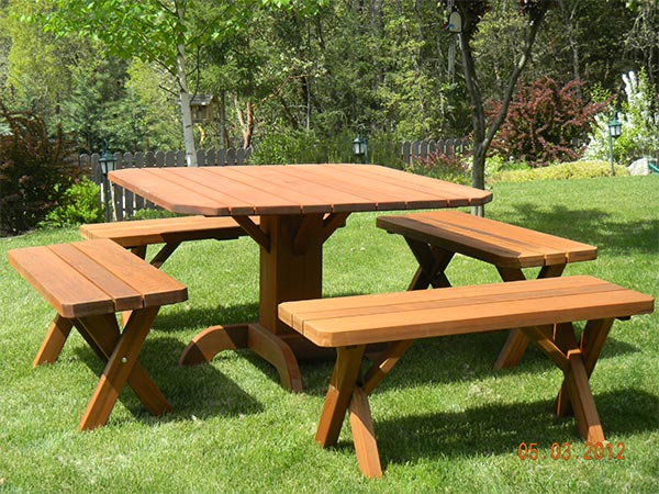 Square Redwood Pedestal Table Set With 4 Benches Gold Hill