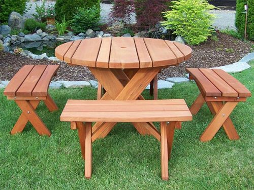 """58"""" Round Cross Leg Style Old Growth Redwood Dining Table Set with 4 curved benches"""