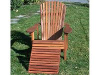 Redwood Adirondack Chair with Foot Rest