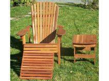 Deluxe Redwood Adirondack Chair Set