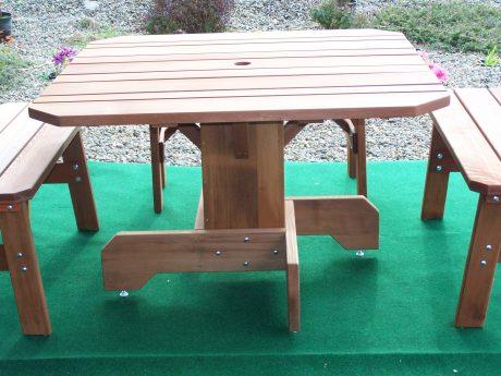 44″ Square Pedestal-Base Redwood Table