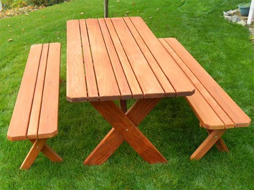 Classic Redwood Picnic Table with 2 Benches